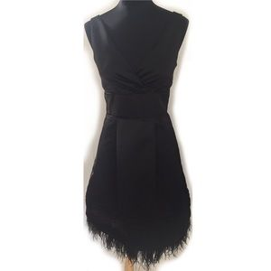 MAX & CLEO DRESS BLACK SATIN FAUX OSTRICH FEATHERS